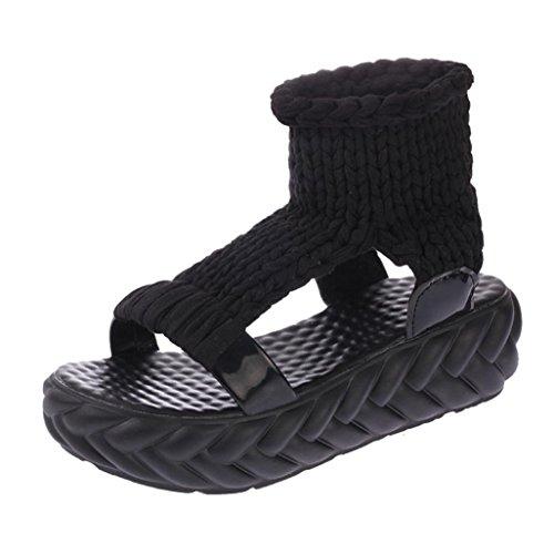 FNKDOR Damen Sandalen Plateau Schuhe Gestrickte Damenschuhe Sandaletten(36,Schwarz)