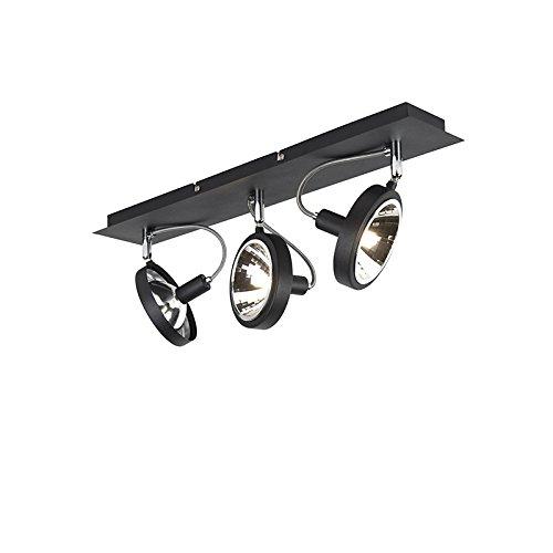 QAZQA Moderno Diseño spot negro ajustable a 3 luces - Nox Aluminio...