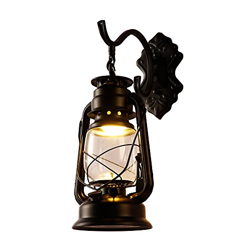 INJUICY Fer Antique Lampe de Mur Lampe de Kérosène Rétro Lanterne Lampes à Huile Lampe de Mur Chambre à Coucher Restaurant Bar Cafe Aisle Escalier Lumières Décoratives (Noir)