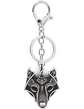 Viking Wikinger Odin Wolf Anhänger Wolf Schlüsselanhänger Schwarz Onyx Augen Antik Silber