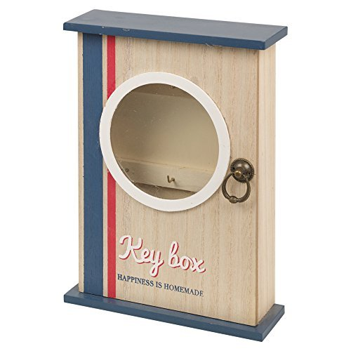 6 Hooks Wooden Key Box Door Lock Closure Wall Mounted Cabinet Storage-21x6x25cm.