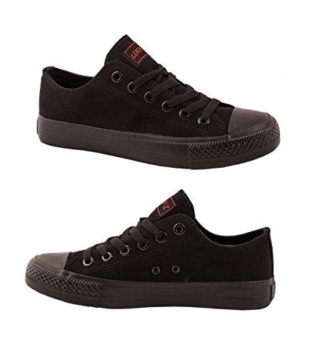Elara Unisex Sneaker | Bequeme Sportschuhe für Herren und Damen | Low top Turnschuh Textil Schuhe 36-46 All Black