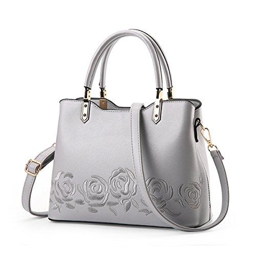 Mode Damen Einfaches Große Taschen Personalisierte Rosen Stickerei Schulter Kurierbeutel Wild Handtaschen Buntes Quadratisches Paket Gray