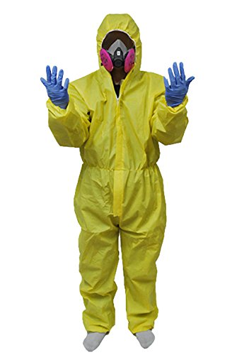 Kostüme Breaking Lab Bad (Breaking Bad Hazmat Lab Walter White Jumpsuit Kostüm mit Halbmaske)