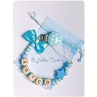 Catenella portaciuccio | con nome personalizzabile | blu | soothie pacifier clip