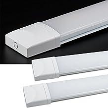2X Regletas led de luz IP65 J&C® 18W 60cm Regleta neón Barra fluorescentes estanca de luz compacta LED lámpara perfil bajo 72*SMD2835 1500Lm Tri-prueba Luz blanco puro uso interior y exterior para pasillos,cocinas,oficinas,locales comerciales,entre otros