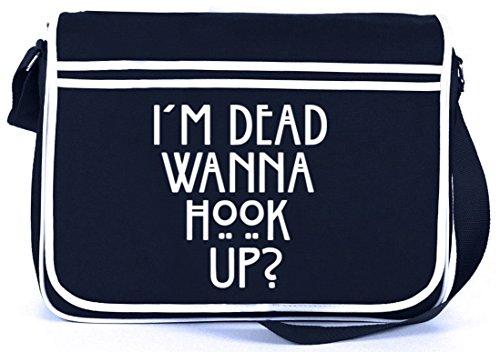 Shirtstreet24, AHS - Wanna Hook Up? Retro Messenger Bag Kuriertasche Umhängetasche Navy