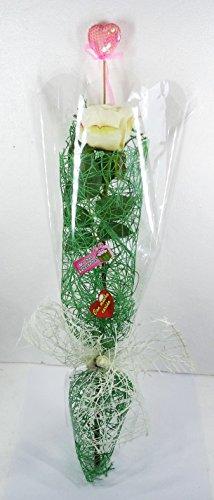 Rose jour de la mère. Cadeau spécial, avec cœur. Dimensions: 65x 15x 15cms. Avec Fleurs Artificielles, Avec liens et cassettes variées. envuelto tout en cellophane. Blanc