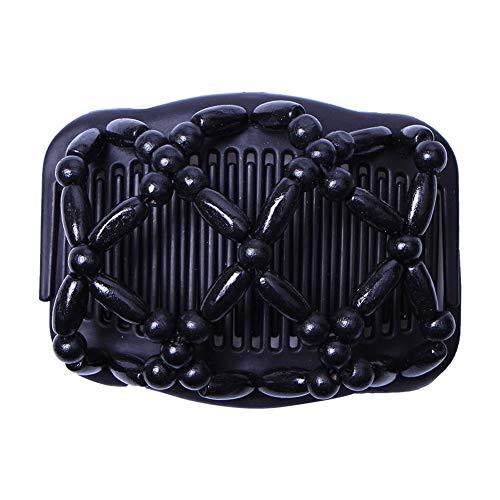 Zantec Frauen Elastizität Stretchy Magic Perlen Holz Haar Kamm Clip Dekoration -
