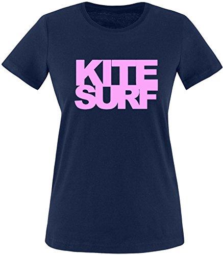 EZYshirt® Kitesurf Damen Rundhals T-Shirt Navy/Rosa