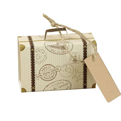 Flushzing 100pcs Mini-Koffer Wedding Favor-Süßigkeit-Kästen Schokoladen-Treat Braut Geburtstag Party-Geschenke Taschen