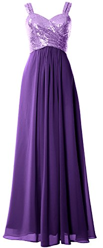 MACloth Women Straps Sequin Long Bridesmaid Dress Cowl Back Wedding Formal Gown Lavender-Purple