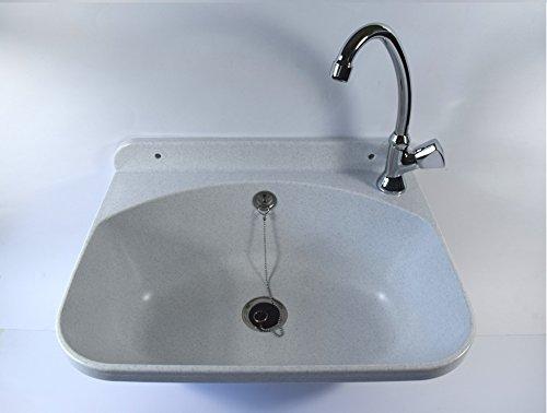Ausgussbecken EKO, Farbe: weißer granit, inkl. Kaltwasser-Armatur