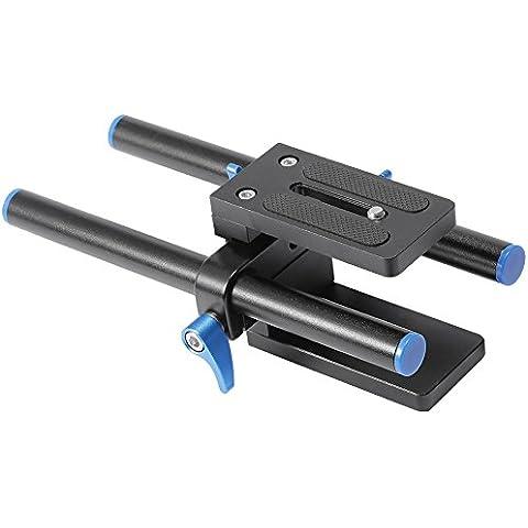 Neewer–Raíl de aleación de aluminio de 15mm de Rod Soporte Placa Base con Tornillo de 1/4de pulgada placa de liberación rápida para follow focus Mattebox DSLR Rig Sistema
