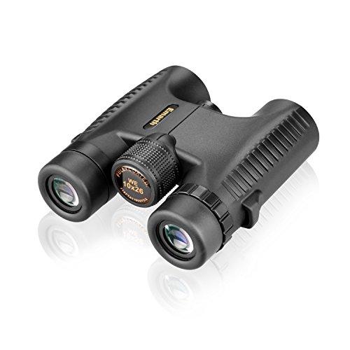 EMARTH Binocolo - luce binoculare con 10 - ingrandimento volte ed obiettivo 26 mm. Impermeabili, pieghevoli grandangolari binocoli - Nero