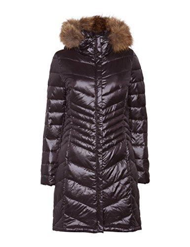 MOTIVI: Piumino donna lungo con cappuccio staccabile in vera pelliccia. Nero, taglia 40
