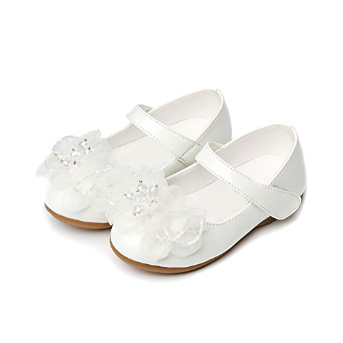 Scothen Princesse chaussures paragraphe Costume Ballerina boucle Chaussures paillettes Ballerines Carnival Festive enfants chaussures chaussures fête fille Baptême Communion célébration mariage Blanc
