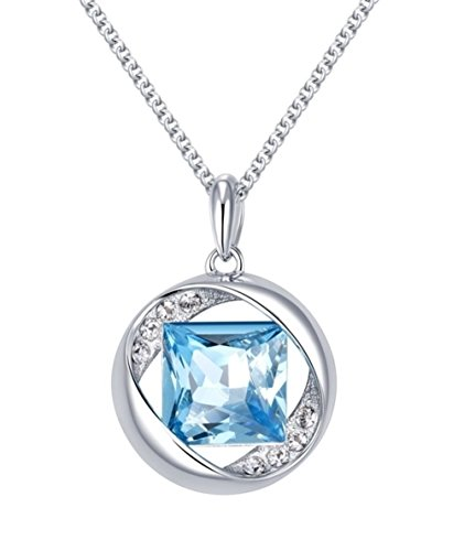 NEVI Square in Round Fashion Swarovski Elements Rhodium Plated Princess  Pendant Necklace Jewellery for Women & Girls (Blue & Silver)