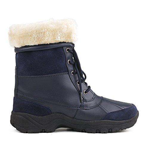 Shenduo Bottes de neige homme(Waterproof), Boots fourrées à lacets, Chaussures de ski doublure chaude Mixte adulte DA5521 Bleu foncée/ Bleu