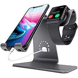 Bestand® 2 en 1 Support téléphone portable & tablette et Apple watch chargeur station en Aluminum pour Apple iWatch/ iPhone/ ipad-Gris (Câbles non inclus)