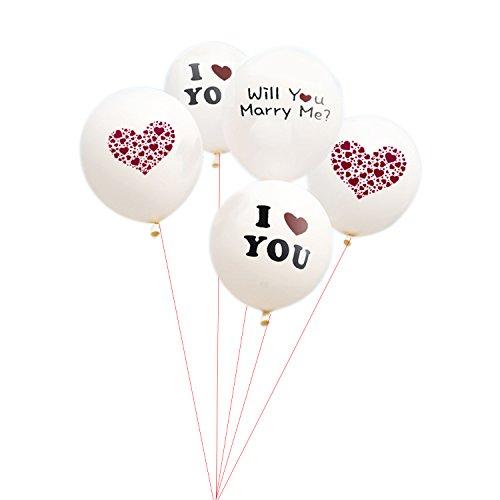Olen Ballons Herz Luftballons Hochzeit Weiß Love Just Married Luftballon mit Herzen Ballons Hochzeit 5er Set