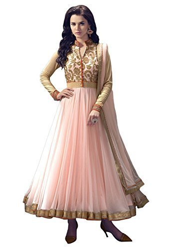 Anance Womens Light Pink Net Anarkali Salwar Suit Dress Material (A1 Grade)  available at amazon for Rs.299