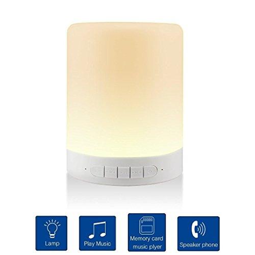 LED Farbwechsellampe mit Bluetooth-Lautsprecher dimmbar Touch Nachtlicht Tischdekoration Stimmung Lampe Atmosphäre Lampe Leselampe Schlaflicht Tisch (Weiß) -