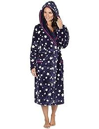 Mujer Polar Muy Suave Con Capucha Estampado Estrellas Bata Pijama