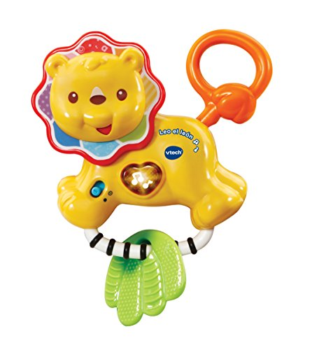 VTech Baby-Leo der Löwe, Rassel Beißring Interaktives Baby mit über 30Melodien, Lieder und Sätze (3480-508222)