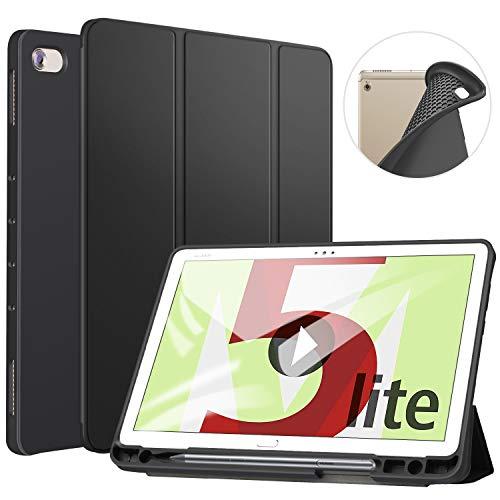 ZtotopCase Hülle für Huawei MediaPad M5 Lite 10, TPU Soft Shell Hülle Schutzhülle mit Stifthalter, Automatischem Schlaf/Aufwach, Anwendbar für Huawei MediaPad M5 Lite 10.1 Zoll 2018,Schwarz