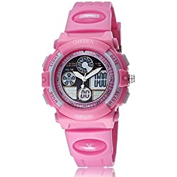 Uhr Armbanduhr Herrenuhr Damenuhr Quartz für Kinder Mädchen-Analog Nadeln Digital LCD-Display-Zifferblatt Rosa-Silikon Band Rosa-Datum Tag Alarm