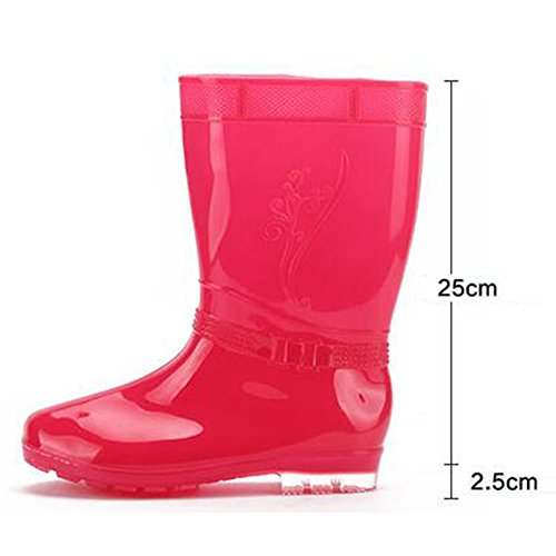 Juleya Frauen Regen Stiefel Damen-Beleg auf Gummistiefel Gummi Gummistiefel Rot