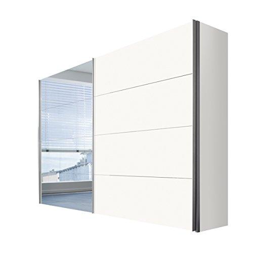 Express Möbel Kleiderschrank Schlafzimmerschrank Weiß 300 cm mit Spiegel, 2-türig, BxHxT 300x216x68 cm, Art Nr. 47520-070