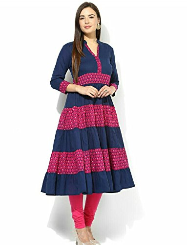 AnjuShree Choice Women's Cotton Blue Anarkali Kurti