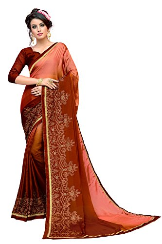 Glory Sarees Women's Chiffon Saree(kavya104orange_orange)