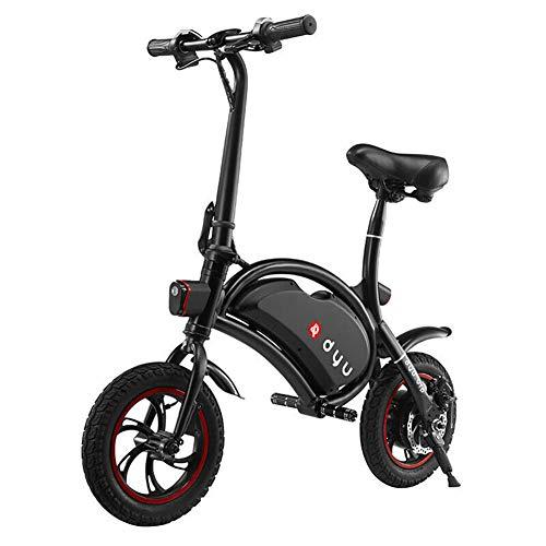 LHLCG Bicicleta eléctrica - Aplicación Inteligente de Bicicleta eléctrica portátil Ultraligera Plegable y Asiento para niños,Black