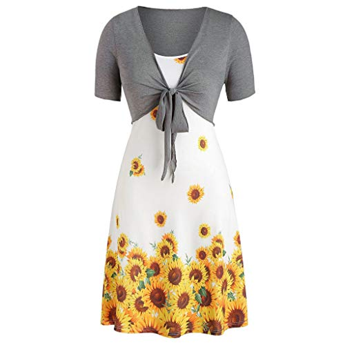 Cooljun frauen sommer casual t shirt kleider frauen mode kurzarm geknotet solide top + sunflower cami mini dress anzüge