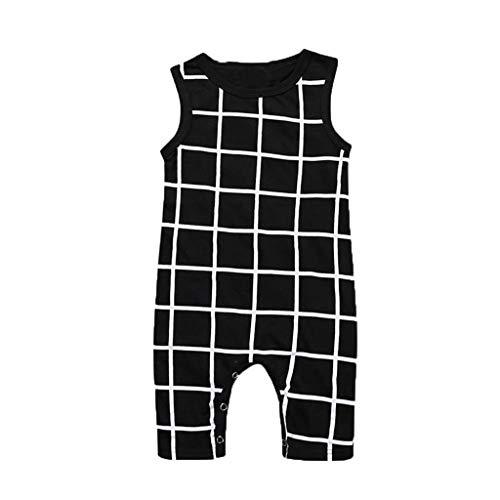 LABIUO Kleinkind-Baby Overall, Junge Kleidung Lässiger Karomuster Jumpsuit 0-24M Baby Schlafanzug(Schwarz,6-12 Monate/80)