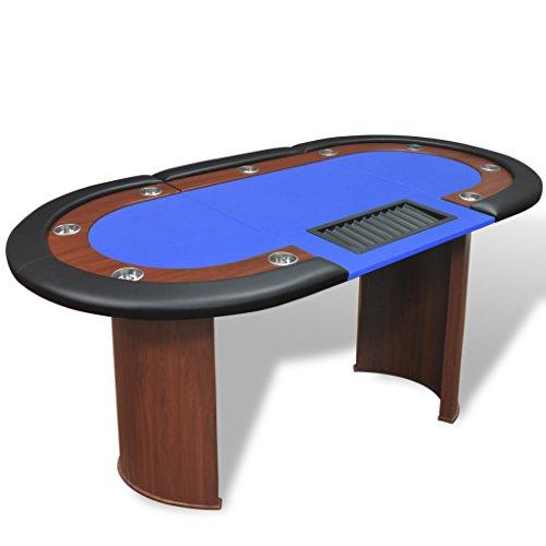 vidaXL Pokertisch 10 Spieler Poker Tisch Pokertable mit Chiptray Getränkehalter Blau