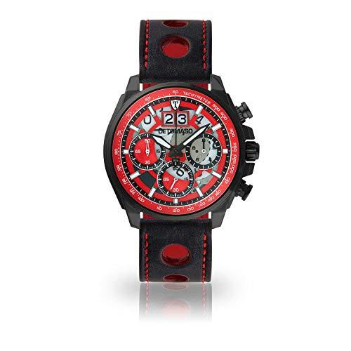 DETOMASO LIVELLO Mens Wristwatch Chronograph Analogue Quartz Black Racing Leather Strap red dial DT2060-C-836
