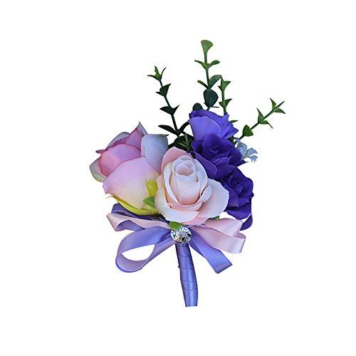 Boutonniere Hochzeit Seide Blumen Braut Corsage Bräutigam Brosche Anstecknadel (Blau) ()