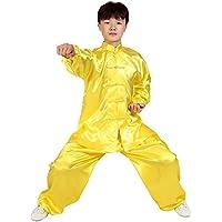 KINDOYO Niños Unisex Ropa De Tai Chi Poliéster Tang Traje de Artes Marciales Kung Fu Uniformes Disfraces, Blanco