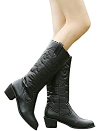 Botas de Tacon Ancho Grueso para Mujer Invierno 2018 PAOLIAN Botas de caño Alto Zapatos Señora Botas Militares…