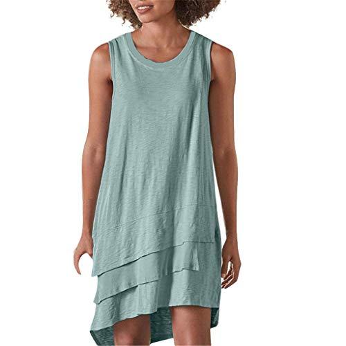 Stretch-wolle T-shirt (Supertong Sommerkleid Damen Knielanges Kleid Einfarbig Rundhals Ärmellos Strandkleid Casual Große Größen Loose Tunika T-Shirt Kleider Trägerkleid Unregelmäßiges Rüschen Maxikleid)