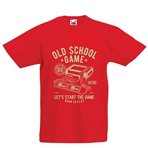 (lepni.me Kinder Jungen/Mädchen T-Shirt Born to Play - Retro-Spiel, Geschenke für Videospieler (14-15 Years Rot Mehrfarben))