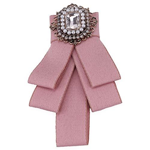 Tandou Schön Brosche Schleife Leopard mit Strass Fliege Damen für Kleidung (Pink)