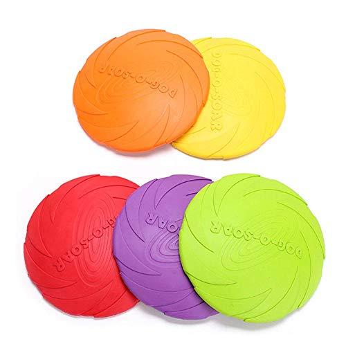 GCCLCF Pet Suministros Perro Juguete de Goma Frisbee mordida-Resistente no tóxico no Perro de Entrenamiento Frisbee,Yellow,S