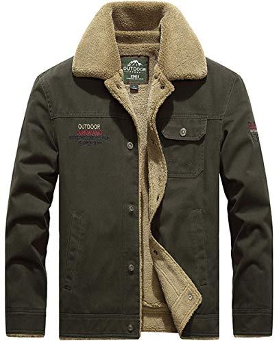 Moxishop Herren Classics Fellfutter verdickt Jeansjacke Fashion Denim Jacket Warm mit Fell Jacke Mantel Winterjacke Wintermantel (2X-Large, Armee-Grün)