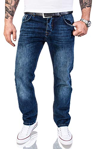 Rock Creek Herren Jeans Hose Regular Fit Jeans Herrenjeans Herrenhose Denim Stonewashed Basic Raw Straight Cut Jeans RC-2140 Dunkelblau W42 L32 -