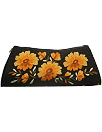 Soulful Threads Cotton Silk Bold Floral Embroidered Black Clutch